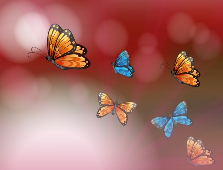 Illustration of a paper with butterflies Vector