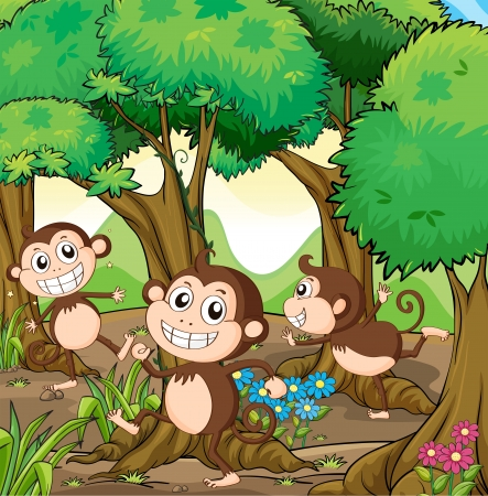 Illustration of the three monkeys playing at the forest Stock Vector - 18825317
