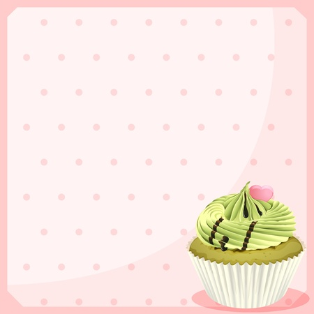 Illustration of an empty stationery with a mocha cupcake on a white background Stock Vector - 18825003