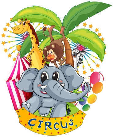 Illustration of the animals in the circus on a white background Vector