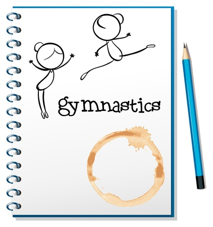 writing paper: Illustration of a notebook with two gymnasts at the cover page on a white background