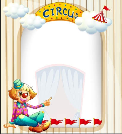 Illustration of an empty template with a clown Vector