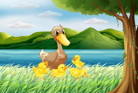 Illustration of the five ducks at the riverbank Vector
