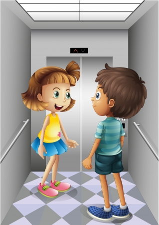 women talking: Illustration of a girl and a boy talking inside the elevator