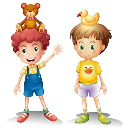Ilustraci�n de los dos ni�os con sus juguetes por encima de sus cabezas sobre un fondo blanco