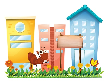 establishments: Illustration of an ant beside a wooden signboard in front of the buildings on a white background  Illustration