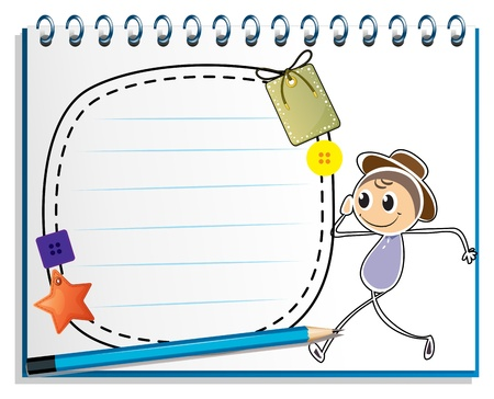 Illustration of a notebook with a drawing of a boy walking with an empty template on a white background Vector