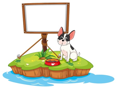Illustration of a framed signage with a dog on a white background Stock Vector - 18824956