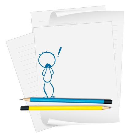 Illustration of a paper with a sketch of a shocked man on a white background  Stock Vector - 18824939