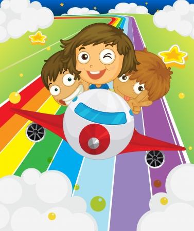 girotondo bambini: Illustrazione di un aereo con tre bambini giocosi Vettoriali