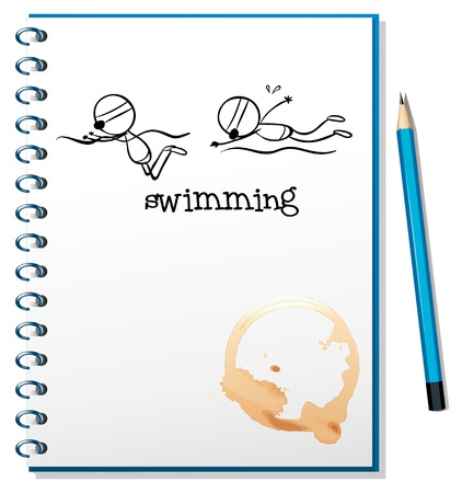 Illustration of a notebook with a sketch of two people swimming on a white background Vector