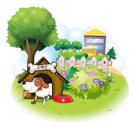 doghouse: Illustration of a doghouse with a dog inside a fence on a white background