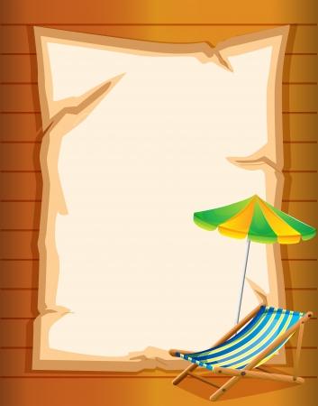 Ilustración de un escritorio vacío con una sombrilla de playa Ilustración de vector