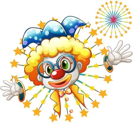 18825324-illustration-d-39-un-feu-d-39-artifice-avec-un-clown-sur-un-fond-blancjpg