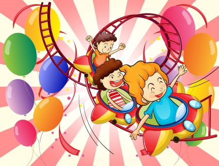 Illustration of the kids enjoying the roller coaster ride Vector