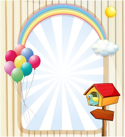 birdhouse: Illustration of a pethouse near an empty template with balloons and rainbow Illustration