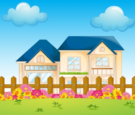 cloud clipart: Illustration of a concrete house inside the fence