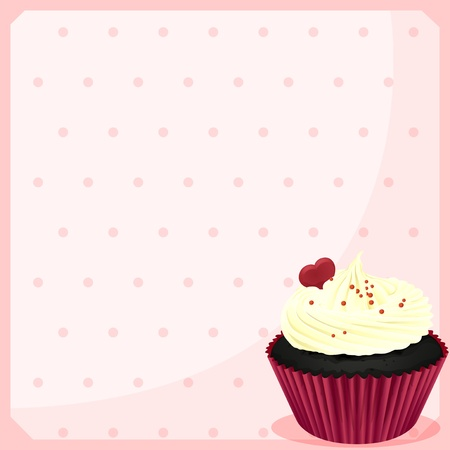 Illustration of a stationery with a chocolate cupcake with a heart on a white background Vector