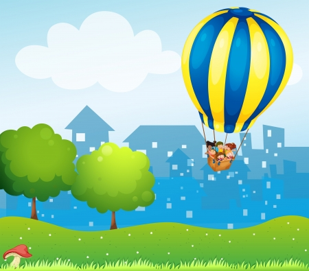Illustration of a big hot air balloon above the hill Vector