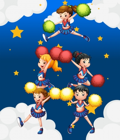 Illustration of the five cheerdancers dancing with their pompoms Stock Vector - 18825312