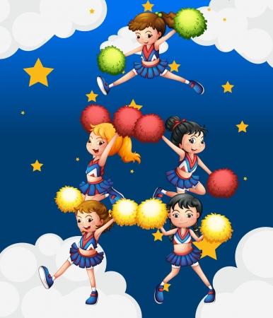 cheer leader: Ilustraci�n de los cinco cheerdancers bailando con sus pompones