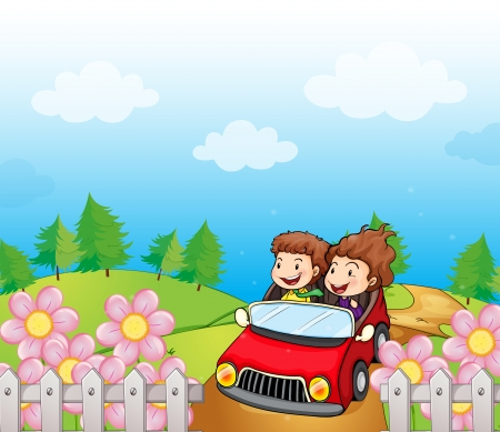 car garden: Illustration of a red car with a young girl and boy Illustration