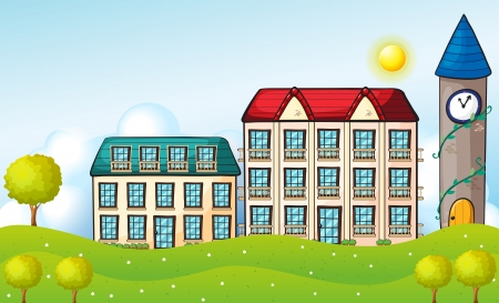 dormitories: Illustration of the two dormitories across the hill