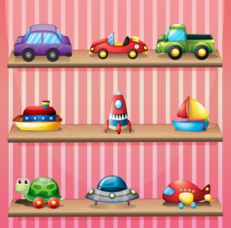 cupboards: Illustration of a collection of toys