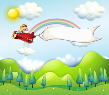 Illustration of a monkey riding in a red airplane with an empty banner Vector
