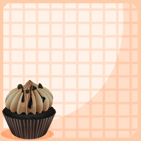 mouthwatering: Illustration of a stationery with a mouth-watering cupcake Illustration