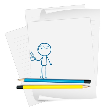 Illustration of a paper with a drawing of a boy holding a cup of coffee on a white background Vector