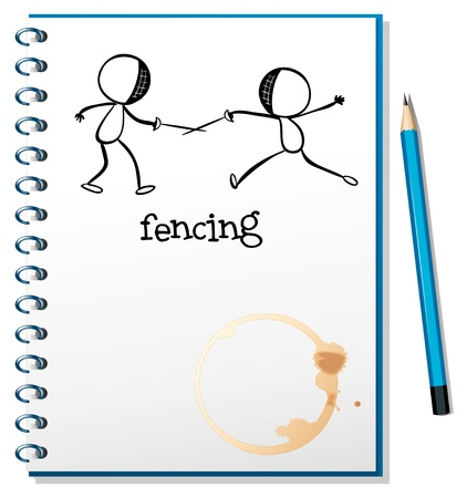 Illustration of a notebook with a sketch of two people fencing on a white background Vector