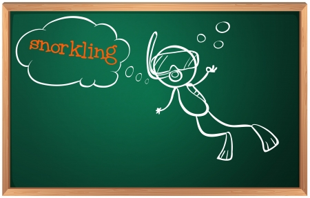 snorkling: Illustration of a blackboard with a boy swimming