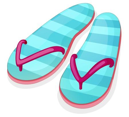houseshoe: Illustration of a blue stripe sandal on a white background