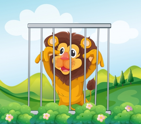 Illustration of a cage with a wild lion Vector