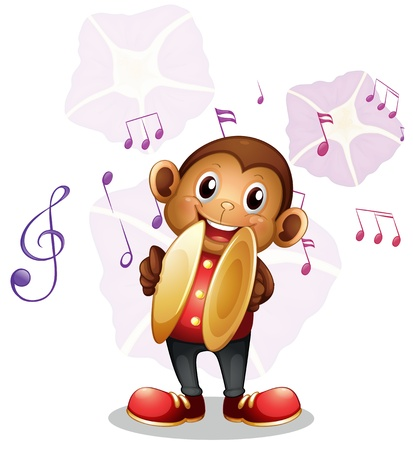 cymbals: Illustration of a musical monkey on a white background