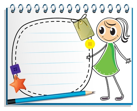 Illustration of a notebook with a sketch of a girl with a green dress on a white background Vector