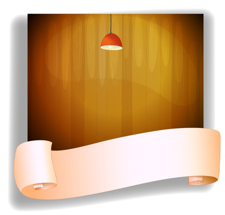 Illustration of a red lampshde above an empty signage on a white background Vector