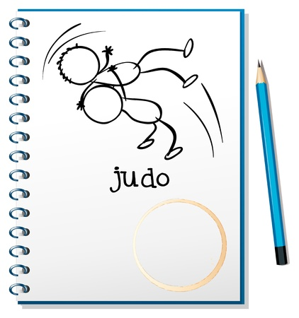 Illustration of a notebook with a sketch of two people doing judo on a white background  Vector