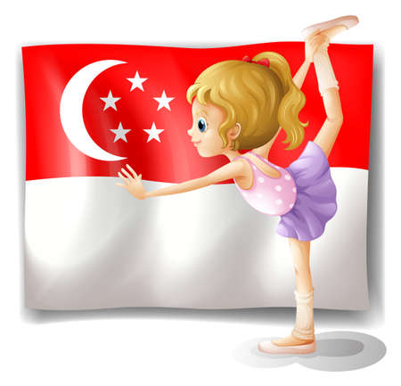 singaporean flag: Illustration of a girl dancing in front of the flag of Singapore on a white background Editorial