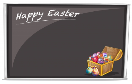 Illustration of a board with a Happy Easter Greeting on a white background  Illustration
