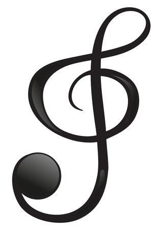 treble: Illustration of a G-clef on a white background Illustration