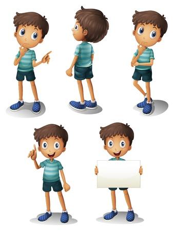 흰색 배경에 서로 다른 위치에있는 어린 소년의 그림 일러스트