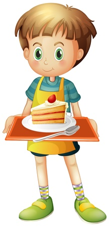 Illustration of a boy holding a tray with a slice of cake in a plate on a white background Vector