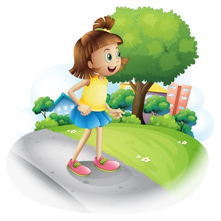 establishments: Illustration of a young girl at the street on a white background