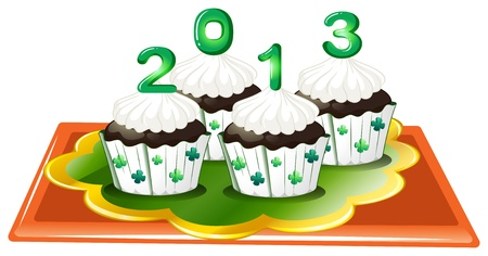 feast of saint patrick: Illustration of the four chocolate cupcakes for 2013 on a white background