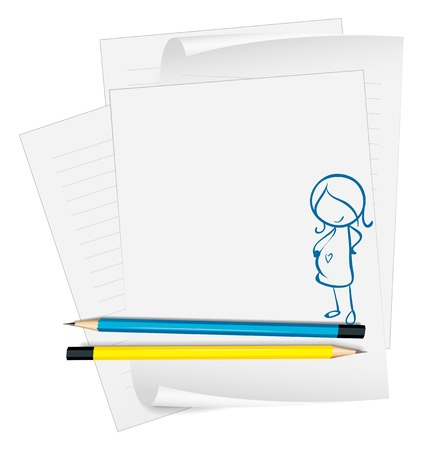 writing materials: Illustration of a paper with a sketch of a pregnant lady on a white background
