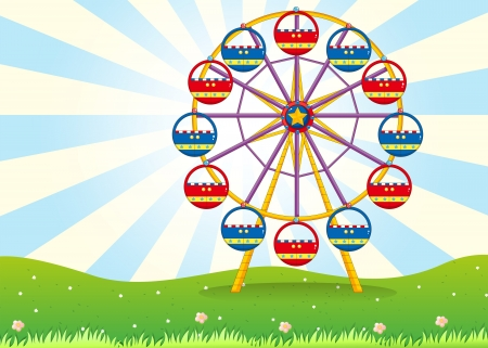 amusement park rides: Illustration of a ferris wheel at the hilltop