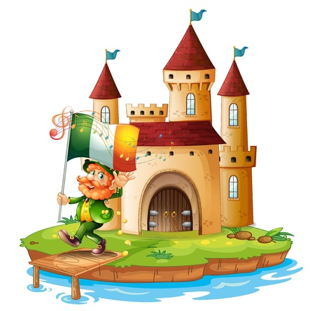 Illustration of a palace with a man holding the flag of Ireland on a white background Vector