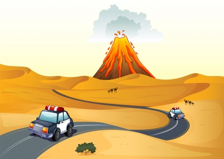 Illustration of a desert with two patrol cars Vector
